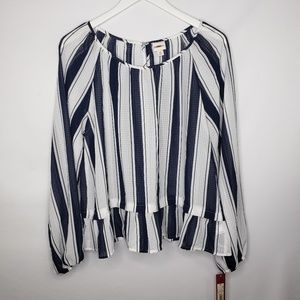 Merona White & Navy Stripe Peplum Long Sleeve Top